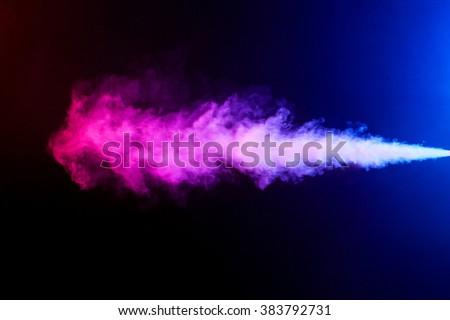Stream color smoke on black background
