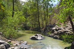 Stream flowing below base of Salto del Nogal waterfall in Sierra Madre Occidental mountain range of Jalisco Mexico
