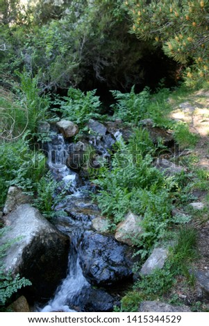 stream flowing down the mountain between the rocks #1415344529