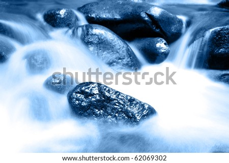 Stream flowing in motion over rocks. Natural background