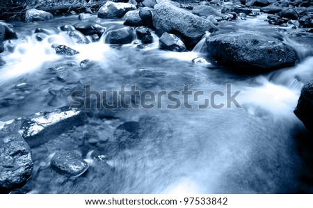 Stream flowing over rocks. Natural background