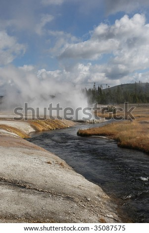 Stream Flowing through the Lower Geyser Basin #35087575