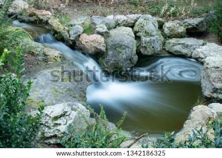 stream in Montserra, long exposure shot, in the artificial streams of Montserrat, Barcelona