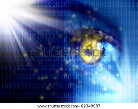 Stream of digital data with a human eye