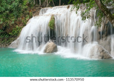 Stream of Erawan waterfall in Erawan National Park, Thailand
