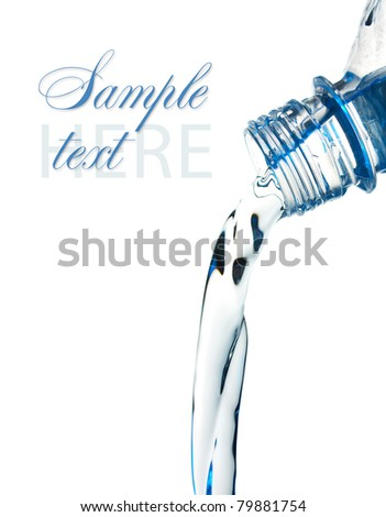 stream of water flows from the bottle Isolated on white background