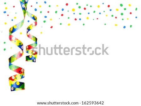 streamers and confetti as decoration for parties, sylvester isolated, hanging with white background