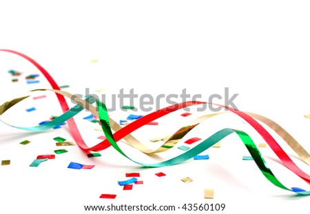 Streamers and confetti 2 on white background