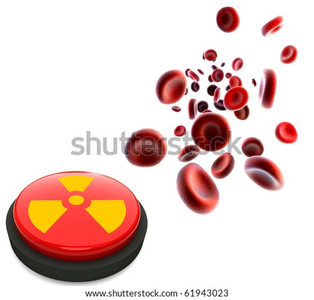 streaming blood cells and button with nuclear sign