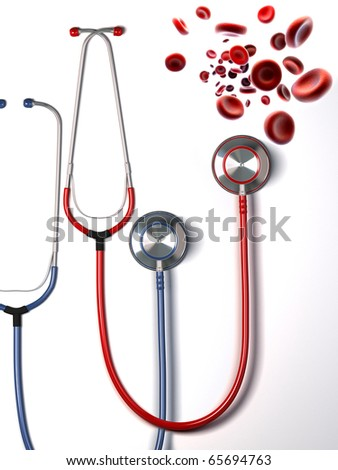 streaming blood cells and medical stethoscope on a white background