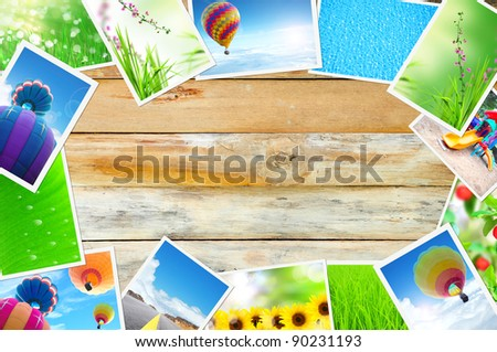 streaming images on wood background