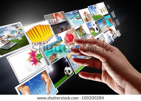 Streaming multimedia from the internet with reaching hand. All images coming from my gallery.