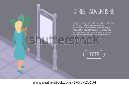 Street advertising banner. Isometric illustration of street advertising banner for web design