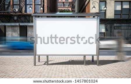 street advertising bus stop mockup at city 3d rendering
