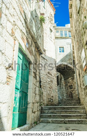 Street and architecture of the old city of Dubrovnik, Croatia. UNESCO World Heritage