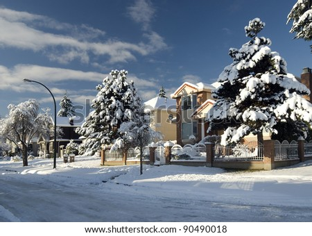 Street and homes under snow in Vancouver, BC, Canada