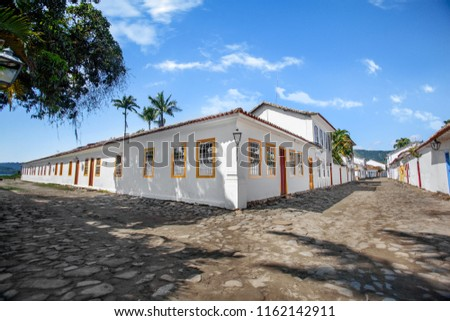 Street and old portuguese colonial houses in historic downtown in Paraty, state Rio de Janeiro, Brazil