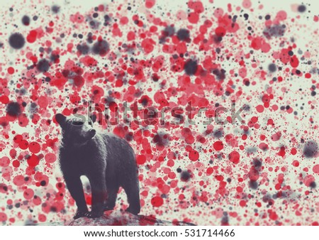 Street art graffiti concept. Bear portrait with black snow or ashes on the background. soft focus . Abstract background