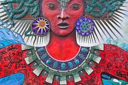 Street Art of a Gorgon-like Woman in San Francisco.