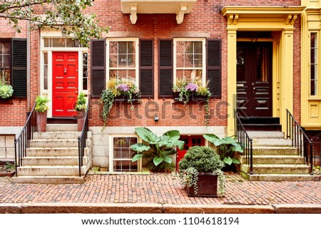 Street at  Beacon Hill neighborhood, Boston, USA. #1104618194
