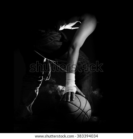 Street Basketball., Black and white photo.