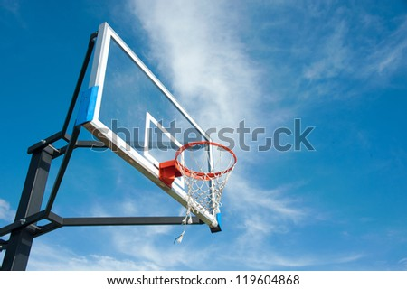 street basketball board with the blue sky