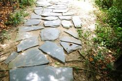 Street big rock and grass on white stone pathway. nature footpath, path, pathway, pavement, paving, sidewalk