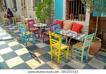 street cafe tables chairs   ...
