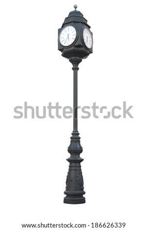 Street clock on a pole isolated over white