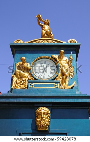 Street Clock Tower on Nevsky Avenue in St Petersburg, Russia