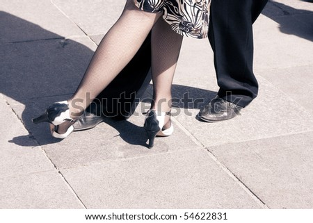 Street dancers performing tango dance. Aged tone. Copy space. #54622831