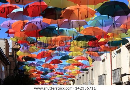 Street decorated with colored umbrellas.Madrid,Getafe, Spain