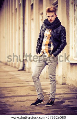 Young Fashionable Man In Full Length Guy With Stylish Haircut Casual Clothes Posing