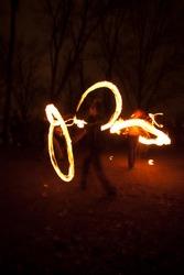 Street Fire dancers at night