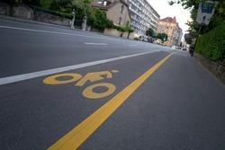 Street Floor Yellow Bike Lane
