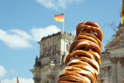 Street food in Germany: bagels piled up in Berlin