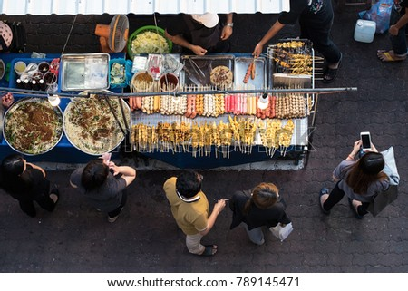 street food market ,thailand street food,Top view of a Thai street food  #789145471