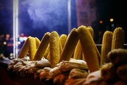 Street food stall with grilled corn, Istanbul, Turkey