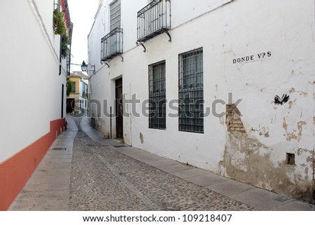 Street historical district of Cordoba - Spain - stock photo