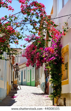 Street in Algarve, Portugal. - stock photo