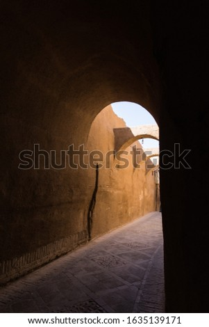 street in ancient percian city Yazd, situated in dessert, one of UNESCO world heritage sites, Iran