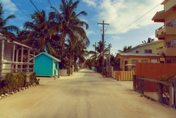 street in caye caulker town island belize central america