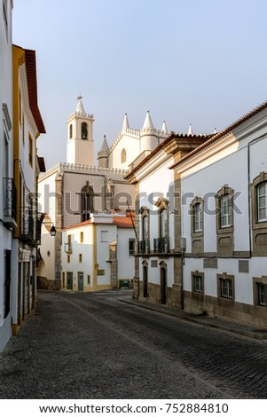 Street in Evora, Portugal, leading to the Church of St. Francis, built between 1475 and the 1550s. #752884810