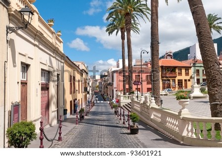Street in La Orotava on summer day, Tenerife, Spain