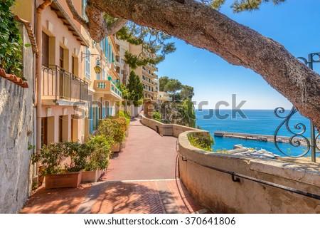 stock photo street in monaco village in monaco monte carlo france 370641806 - Каталог — Фотообои «Улицы, переулки»