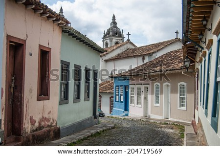 Street in old historic town in Brazilian countryside
