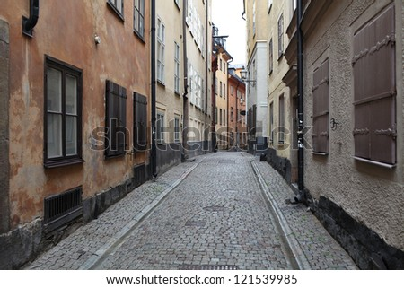 street in old town Stockholm in the autumn