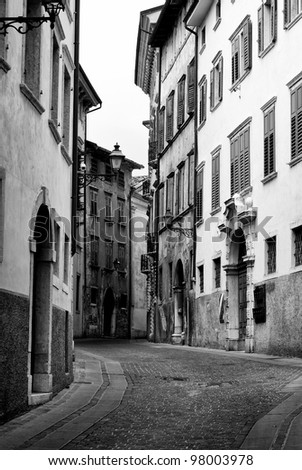 Street in old typical italian village, Rovereto. Trentino