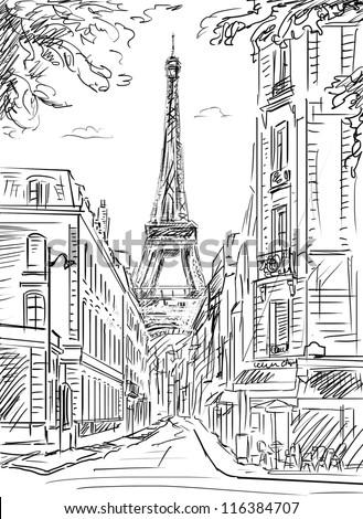Street In Paris Illustration 116384707 Shutterstock