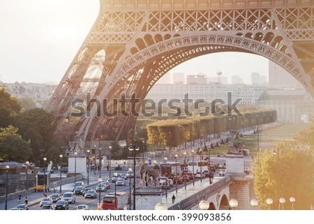 street in Paris near Eiffel Tower, morning traffic #399093856